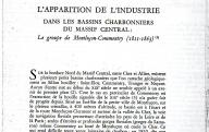 L'apparition de l'industrie dans les bassins charbonniers du massif central : le groupe de Montluzon-Commentry (1811-1863). (s. d. n. l.).