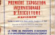 Catalogue de la première exposition internationale d'aviculture d'Avignon, avril-mai 1956.	1956.